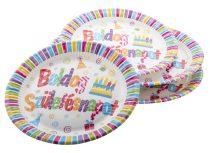 """Tányér, papír, 23 cm, """"Boldog születésnapot"""""""