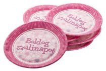 """Tányér, papír, 23 cm, """"Boldog Születésnapot"""", rózsaszín"""