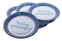 """Tányér, papír, 23 cm, """"Boldog Születésnapot"""", kék"""