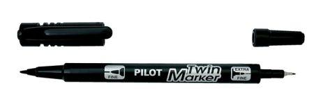 """PILOT Alkoholos marker, 0,8/2 mm, kétvégű, PILOT """"Twin"""", fekete"""