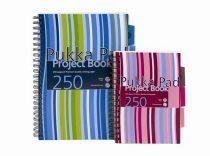 """PUKKA PAD Spirálfüzet, A4, vonalas, 125 lap, PUKKA PAD """"Stripe project book"""""""