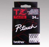 """BROTHER Feliratozógép szalag, 24 mm x 8 m, BROTHER, """"TZe-151"""" víztiszta-fekete"""
