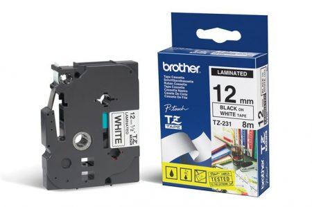 """BROTHER Feliratozógép szalag, 12 mm x 8 m, BROTHER, """"TZe-231""""fehér-fekete"""