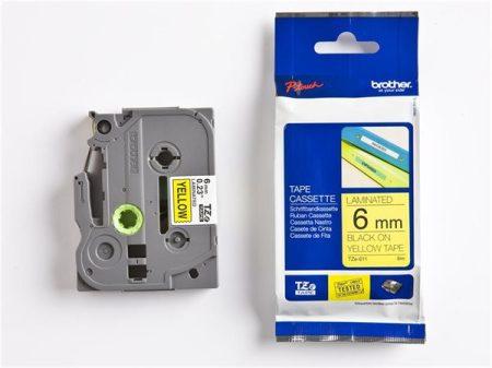 """BROTHER Feliratozógép szalag, 6 mm x 8 m, BROTHER, """"TZe-611"""" sárga-fekete"""