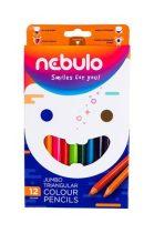 NEBULO Színes ceruza készlet, háromszögletű,  jumbo, NEBULO, 12 különböző szín