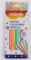 NEBULO Színes ceruza készlet, hatszögletű, NEBULO, 12 különböző pasztell szín