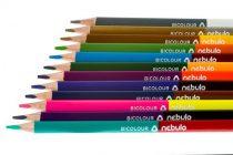 NEBULO Színes ceruza készlet, kétvégű, háromszögletű, NEBULO, 24 különböző szín