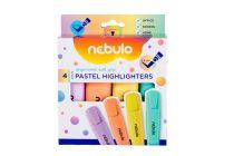 NEBULO Szövegkiemelő, készlet, 2-5 mm, NEBULO, 4 különböző pasztell szín