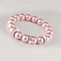 ART CRYSTELLA Karkötő SWAROVSKI® gyöngyből, rózsaszín, fehér rondella kristály, ART CRYSTELLA, M
