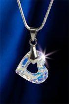 ART CRYSTELLA Nyaklánc, SWAROVSKI® kristállyal, fehér színjátszós, szív alakú medállal, 17 mm, ART CRYSTELLA