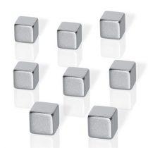 """BE!BOARD Erős kocka mágnes, 8 db, BE!BOARD """"Neodymium""""  ezüst"""