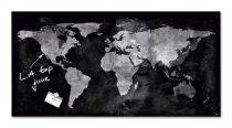 """SIGEL Mágneses üvegtábla, Világtérképpel, 46x91 cm, SIGEL """"Artverum® """", fekete"""