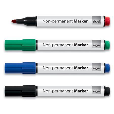 SIGEL Alkoholmentes marker készlet, 1-3 mm, kúpos, SIGEL, 4 különböző szín