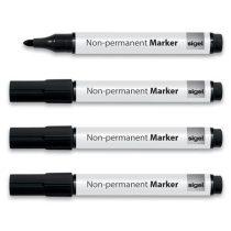 SIGEL Alkoholmentes marker, 1-3 mm, kúpos, 4 db/csomag, SIGEL, fekete