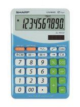 """SHARP Számológép, asztali, 10 számjegy, SHARP """"EL-M332"""", kék"""
