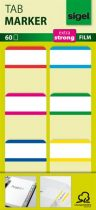 SIGEL Jelölőcímke, megerősített, fehér szélű, 25x38 mm, 6x10 db, SIGEL, vegyes színek