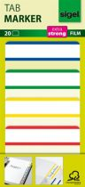 SIGEL Jelölőcímke, megerősített, fehér szélű, 50x38 mm, 4x5 db, SIGEL, vegyes színek
