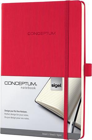 """SIGEL Jegyzetfüzet, exkluzív, A4, vonalas, 97 lap, keményfedeles, SIGEL """"Conceptum"""", piros"""