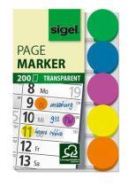 SIGEL Jelölőcímke, műanyag, 5x40 lap, 50x12 mm, SIGEL, vegyes szín
