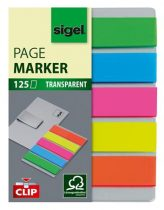 "SIGEL Jelölőcímke, műanyag, 5x25 lap, 12x50 mm, klippel, SIGEL ""Clip"", vegyes szín"