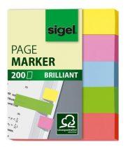 "SIGEL Jelölőcímke, papír, 5x40 lap, 12x50 mm, SIGEL ""Brilliant Mini"", vegyes szín"