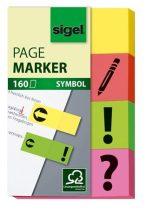 SIGEL Jelölőcímke, papír, 4x40 lap, 20x50 mm, SIGEL, vegyes szín