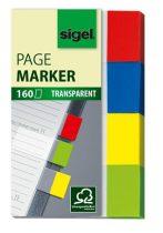 """SIGEL Jelölőcímke, műanyag, 4x40 lap, 20x50 mm, SIGEL """"Clear"""", vegyes szín"""