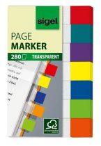 "SIGEL Jelölőcímke, műanyag, 7x40 lap, 12x50 mm, SIGEL ""Clear Mini"", vegyes szín"