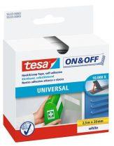 """TESA Tépőzár, öntapadó, 20 mm x 2,5 m, TESA """"On&Off"""", fehér"""