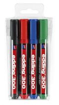 """EDDING Alkoholos marker készlet, 1,5-3 mm, kúpos, EDDING """"300"""", 4 különböző szín"""
