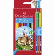FABER-CASTELL Színes ceruza készlet, hatszögletű, FABER-CASTELL, 12 különböző szín + 3 db bicolor ceruza