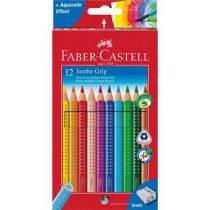 """FABER-CASTELL Színes ceruza készlet, háromszögletű, FABER-CASTELL """"Jumbo Grip"""", 12 különböző szín + hegyező"""