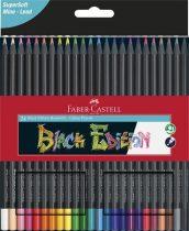"""FABER-CASTELL Színes ceruza készlet, háromszögletű, FABER-CASTELL """"Black Edition"""",  24 különböző szín"""