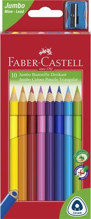 """FABER-CASTELL Színes ceruza készlet, háromszögletű, FABER-CASTELL """"Jumbo"""", 10 különböző szín"""