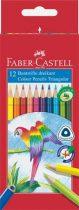 """FABER-CASTELL Színes ceruza készlet, háromszögletű, FABER-CASTELL """"Papagáj"""", 12 különböző szín"""
