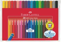 """FABER-CASTELL Filctoll készlet, háromszögletű, FABER-CASTELL """"Grip"""", 20 különböző szín"""