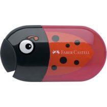FABER-CASTELL Hegyező és radír, kétlyukú, tartályos, FABER-CASTELL, katicabogár minta