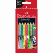 """FABER-CASTELL Színes ceruza készlet, háromszögletű, FABER-CASTELL """"Colour Grip"""", 12 különböző szín"""