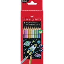 FABER-CASTELL Színes ceruza készlet, hatszögletű, FABER-CASTELL, 10 különböző metál szín
