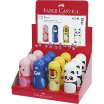 """FABER-CASTELL Hegyező, egylyukú, tartályos, radírral, display, FABER-CASTELL """"Faces"""", vegyes minták"""