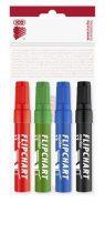 """ICO Flipchart marker készlet, 1-4 mm, vágott, ICO """"Artip 12"""", 4 különböző szín"""