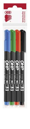 ICO Alkoholos marker készlet, OHP, 2-3 mm, B, ICO, 4 különböző szín