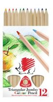 """ICO Színes ceruza készlet, háromszögletű, vastag, natúr, ICO """"Süni"""", 12 különböző szín"""