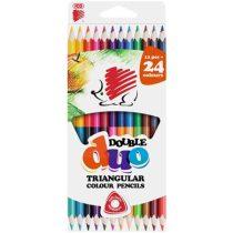"""ICO Színes ceruza készlet, kétvégű, háromszögletű, ICO """"Süni"""", 24 különböző szín"""