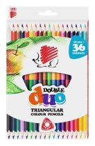 """ICO Színes ceruza készlet, kétvégű, háromszögletű, ICO """"Süni"""", 36 különböző szín"""