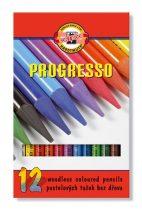 """KOH-I-NOOR Színes ceruza készlet, henger alakú, famentes, KOH-I-NOOR """"Progresso 8756/12"""", 12 különböző szín"""