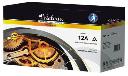 VICTORIA Q2612A Lézertoner LaserJet 1010, 1015, 1018 nyomtatókhoz, VICTORIA 12A, fekete, 2k