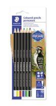 """STAEDTLER Színes ceruza készlet, henger alakú, mindenre író, vízálló (glasochrom), STAEDTLER """"Design Journey Lumocolor"""", 6 különbö"""