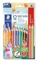"""STAEDTLER Színes ceruza készlet, háromszögletű, vastag, hegyezővel, STAEDTLER """"Noris Jumbo"""", 10+2 különböző szín"""