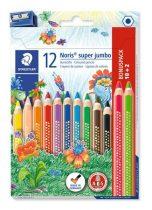 """STAEDTLER Színes ceruza készlet, háromszögletű, vastag, hegyezővel, STAEDTLER """"Noris Super Jumbo"""", 10+2 különböző szín"""